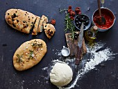 Pizza bread with rosemary, olives and dried tomatoes