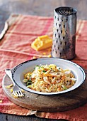 Smoked fish risotto with Cheddar cheese
