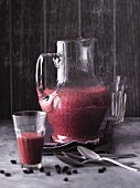 An aronia berry and grapefruit smoothie with bananas and yacon syrup