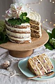 Vegan wholewheat cherry & poppy seed Christmas cake