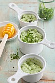 Cream cheese and wild garlic dip with honey