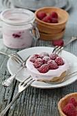 Yoghurt tartlet with raspberries