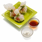 Rice paper sacks with prawns and roasted vegetables