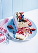 Ice cream terrine with summer fruits