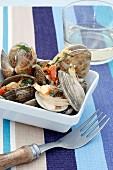 Shellfish in vegetable stock