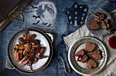 Halloween snacks: sticky backed swings and bleeding hearts