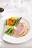 Glazed Ham with Asparagus with Orange Sauce