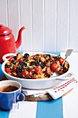 Spicy bread-and-butter pudding with chorizo, mushrooms and tomatoes