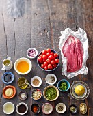 Ingredients for flank steak with a cherry tomato sauce