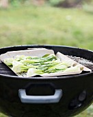 Bok choy on a barbecue