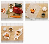 Salmon with colourful vegetables being baked in parchment paper
