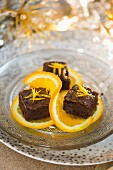 Mini chocolate orange brownies for Christmas
