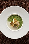 Foamy watercress soup with fried Lake Constance whitefish fillets and asparagus tips