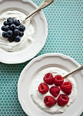 Vanilla yogurt with blueberries and raspberries on a blue patterned surface