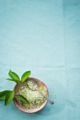 A bowl of homemade lime sugar