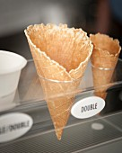 Ice cream cones in an ice cream cafe