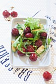Ciliegie in insalata (cherry salad with avocado, Italy)
