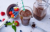 Berry and chocolate smoothie with acacia honey