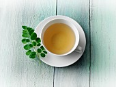 Moringa tea with fresh moringa