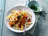 Penne with lentil sugo and moringa powder