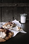 Rosemary focaccia with goat's cheese and buffalo worms