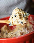 Blueberry scone dough on a wooden spoon