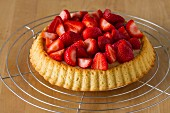 Strawberry tart with vanilla pudding