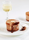 Chocolate soufflé, partly eaten