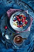 Muesli with berries and honey