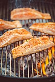 Spiced salmon fillet on a grill