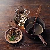 Ingredients for horehound wine à la Hildegard von Bingen: horehound and mixed herbs and white wine
