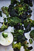 Kale chips with lime mayonnaise