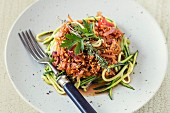 Courgette pasta with lupine bolognese