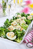 Hard-boiled eggs topped with caviar for Easter