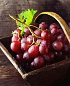 Red grapes in a vintage wooden basket