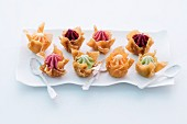 Various sorbets in crispy wonton baskets