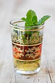 Peppermint tea in an oriental glass