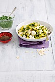 Tagliatelle with spinach pesto, flaked almonds and mozzarella