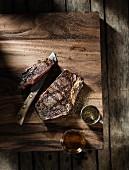 Grilled ribeye steak, sliced