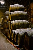 Port wine in a wooden barrels in the Niepoort winery, Portugal