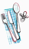 A dummy lying next to cutlery on a napkin (illustration)