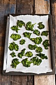 Kale chips on a baking tray