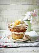 Layered pear and caramel dessert