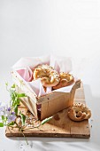 Sweet pretzels in a wooden basket