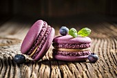 Blueberry macaroons on a wooden table