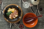 Kaiseki menu: duck with vegetables in broth