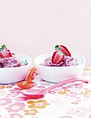 Homemade banana and strawberry ice cream