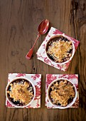 Pear and cherry crumbles with coconut