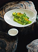 Peas, mange tout, lettuce and verbena, Restaurant Kai3 at the Hotel Budersand, Sylt