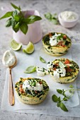 Salmon and spinach muffins with sour cream filling